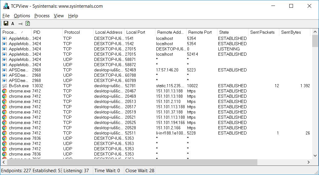 Очень полезная и небольшая утилита TCPView