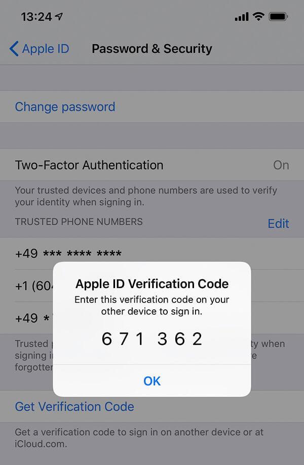 восстановить пароль Аpple с двухфакторной аутентификацией