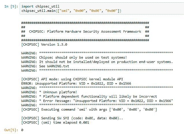 Вызов программного SMI-прерывания в Python с помощью chipsec_util