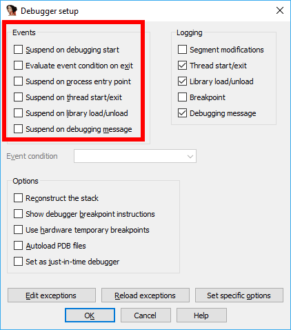 IDA Pro как пользоваться Параметры отладчика