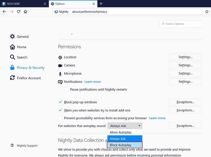 Отключение автовоспроизведение звука в Firefox