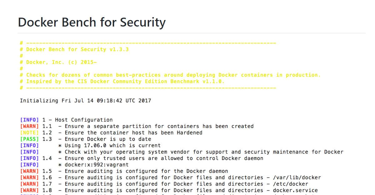 Безопасность Docker. Запуск скрипта Docker Bench Security