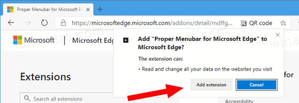 Как отобразить меню в Edge Chromium. Установка расширения Proper Menubar