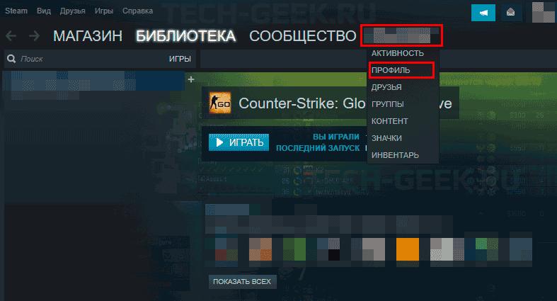 Открытие профиля в Steam