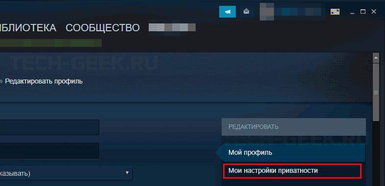 Открытие настроек конфиденциальности профиля в Steam