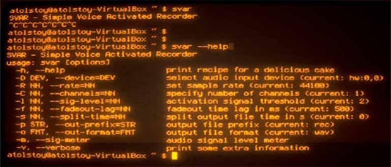 SVAR — диктофон командной строки Linux