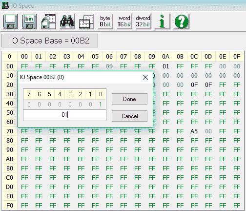 Запись в регистр APM_CNT с помощью утилиты Read & Write
