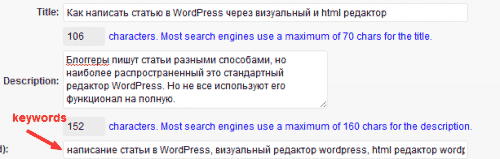 использование редактора wordpress