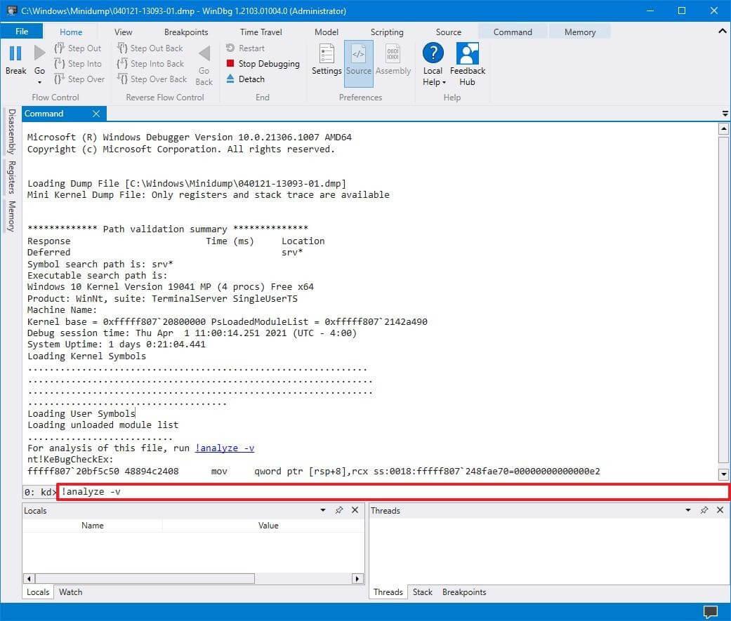 Анализ dmp файла Windows 10