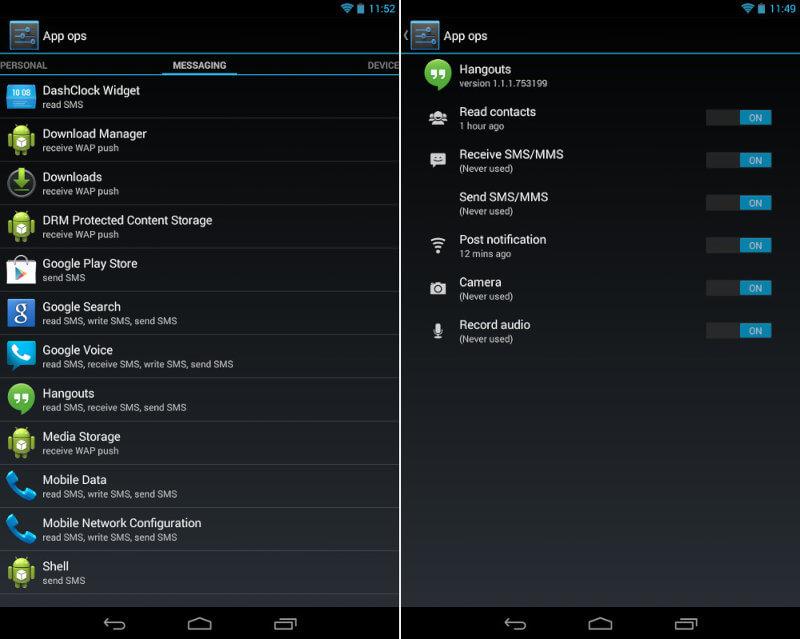 Скрытое меню App Ops в Android 4.3