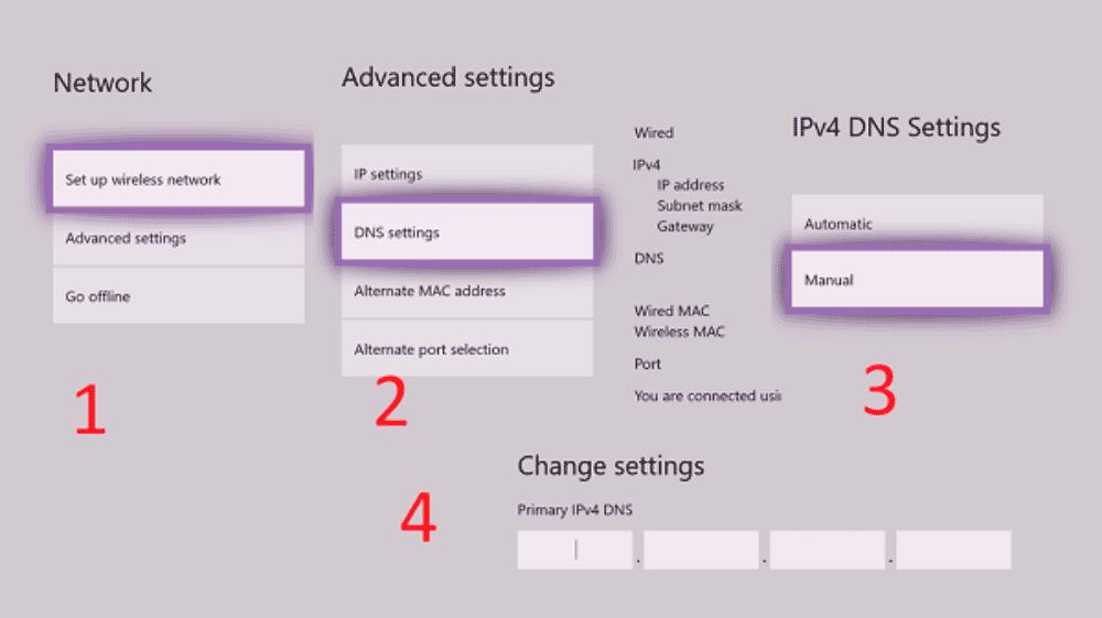 изменить DNS на Xbox One