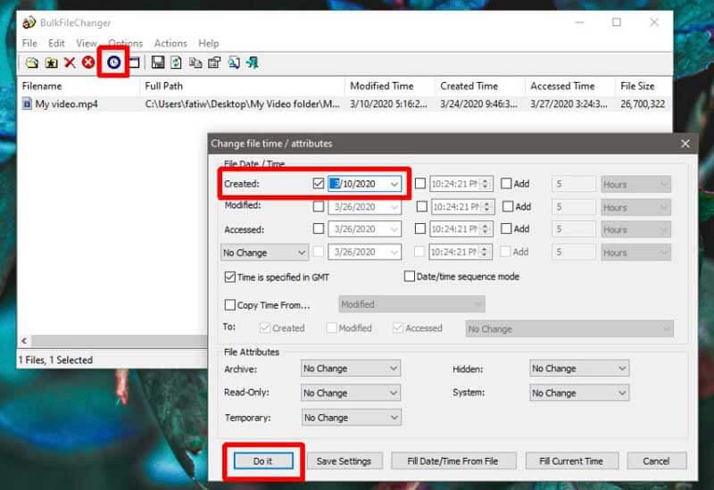 изменении даты создания файла