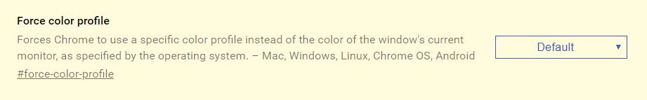 Выбор цветового профиля sRGB