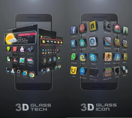 Тема для CM Launcher 3D Glass Tech 3D