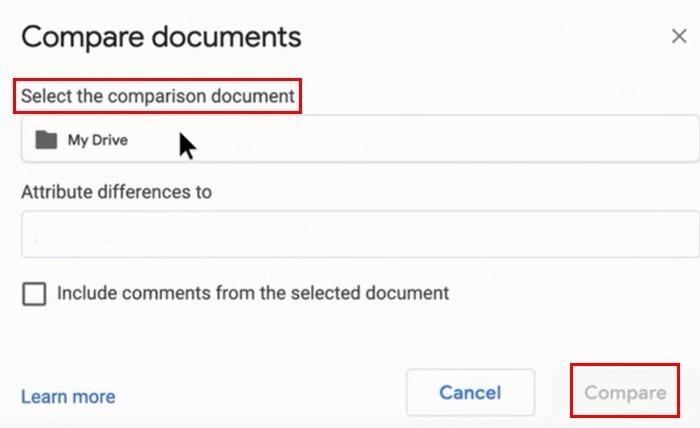 Сравнить два документа в Google Документах. Сравнить выбрать