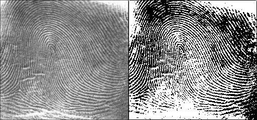 Изображение отпечатка до и после первичной обработки