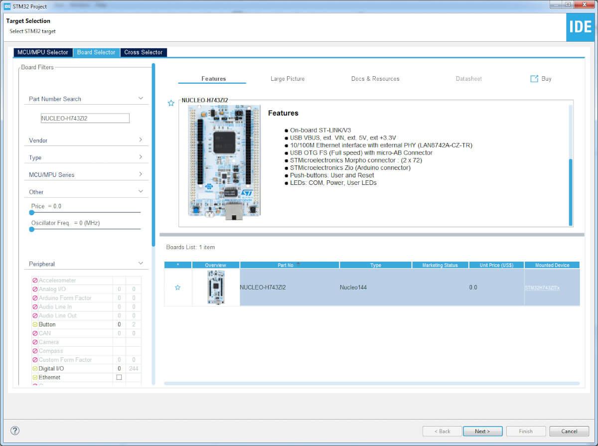 Создания проекта для отладочной платы Nucleo-H743ZI2