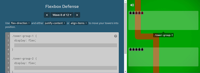 Игра для изучения CSS Flexbox Defense