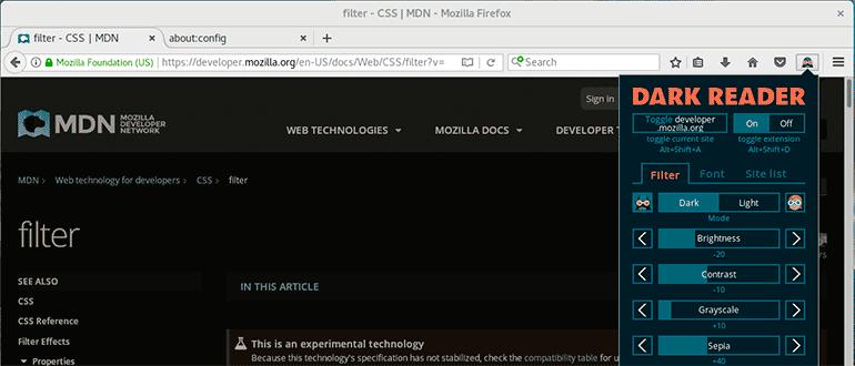Расширение темная тема для Firefox и Chrome