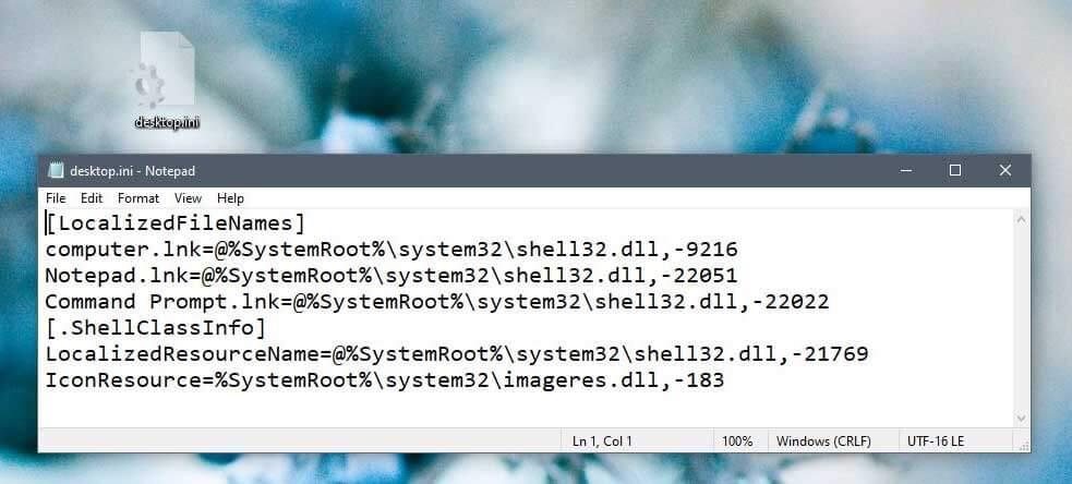 Файл desktop.ini на рабочем столе Windows 10