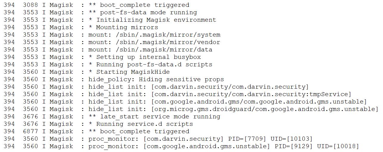 Процесс скрытия root можно увидеть в логах Magisk