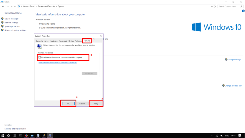 Отключение удаленного доступа Windows 10