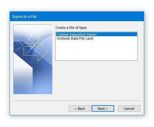 Экспорт календаря Outlook в файл PST