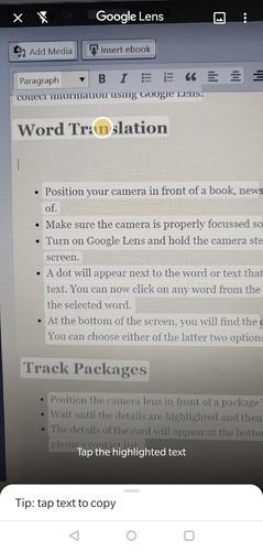 Перевод слов в Google Lens
