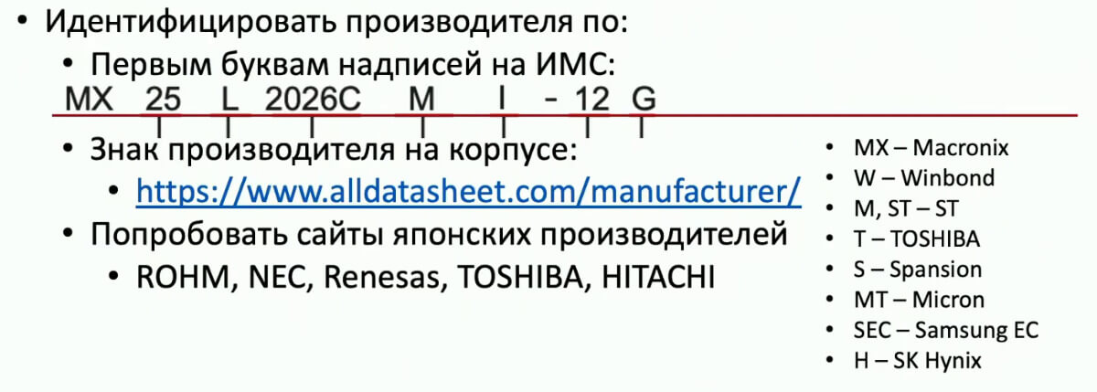 Расшифровка имени чипа