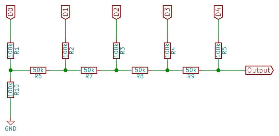 Упрощенная схема мультибитного ЦАП