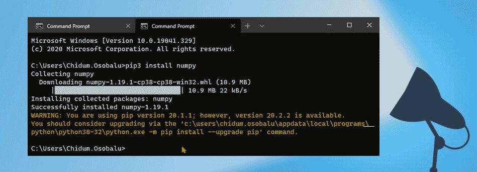 Установите NumPy с помощью PIP в Windows 10
