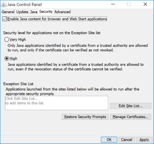 Вкладка «Безопасность» на панели управления Java