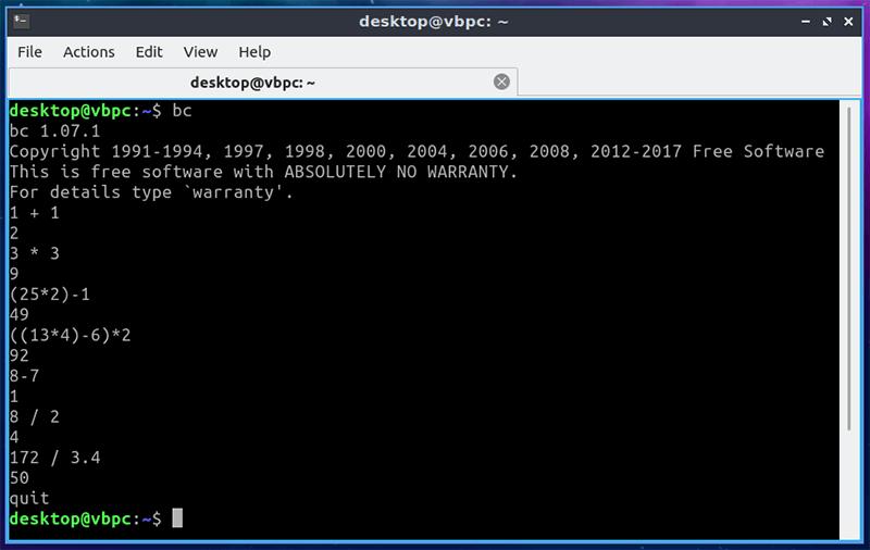 Linux Terminal Калькуляторы Gnubc