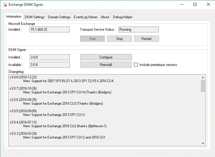 Выбор версии и просмотр других параметров установки утилиты Exchange DKIM Signer