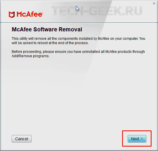 Удаление McAfee из Windows