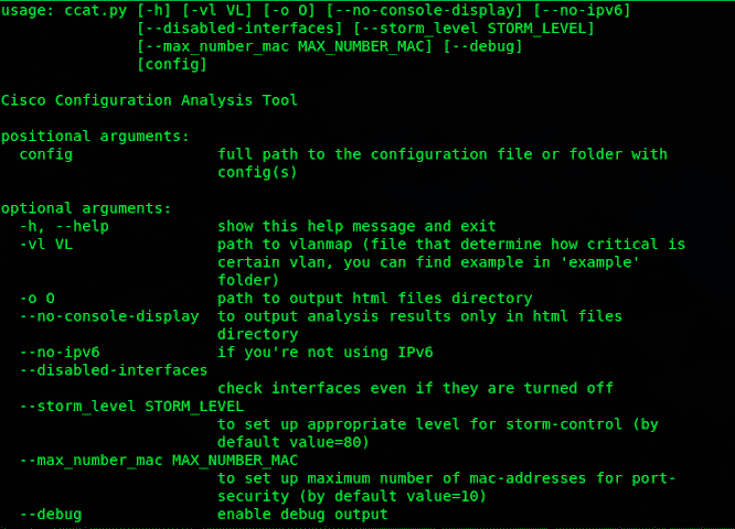 Стартовое меню утилиты Cisco Config Analysis Tool
