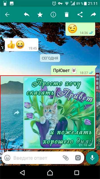 отменить сообщение в WhatsApp