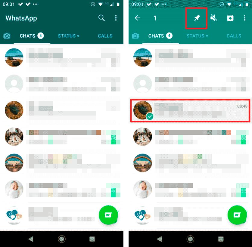 закрепить чат WhatsApp