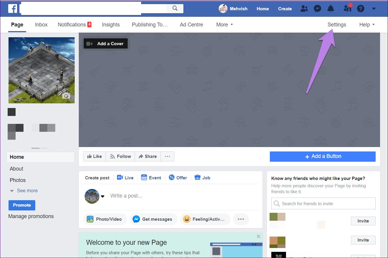 Кнопка настроек Facebook