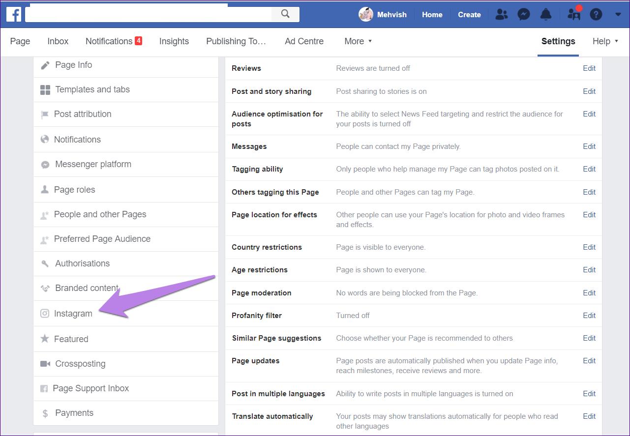 связать аккаунт инстаграм с фейсбуком