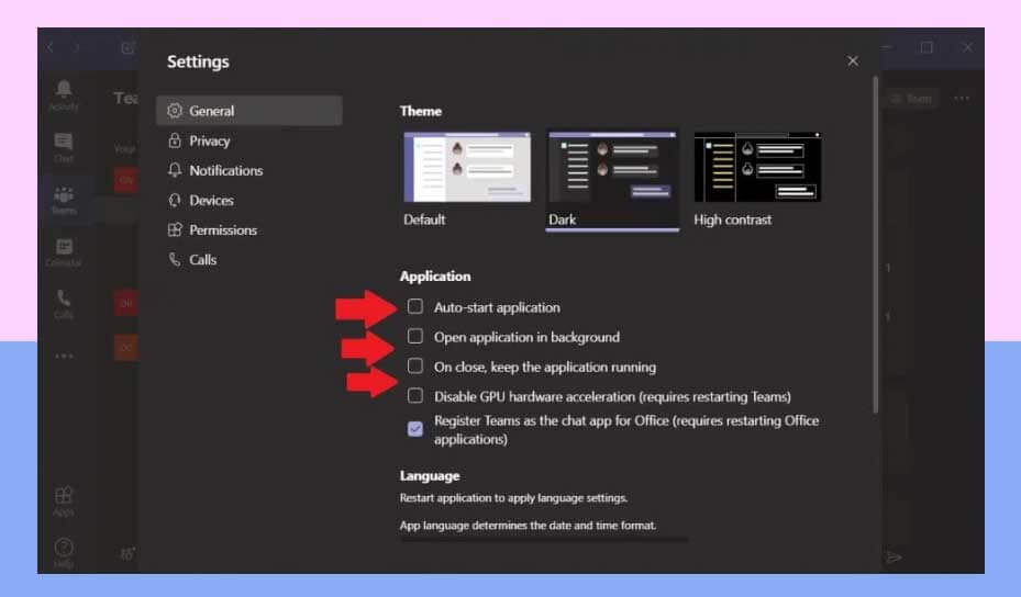 Отключить автозагрузку Microsoft Teams