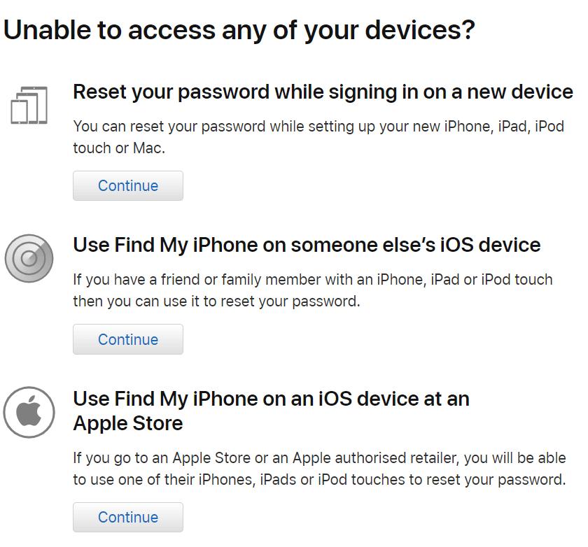 выбор устройства для сброса пароля двухфакторной аутентификации apple