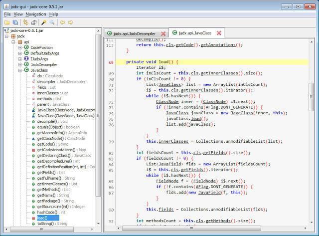 Интуитивно понятный интерфейс Jadx