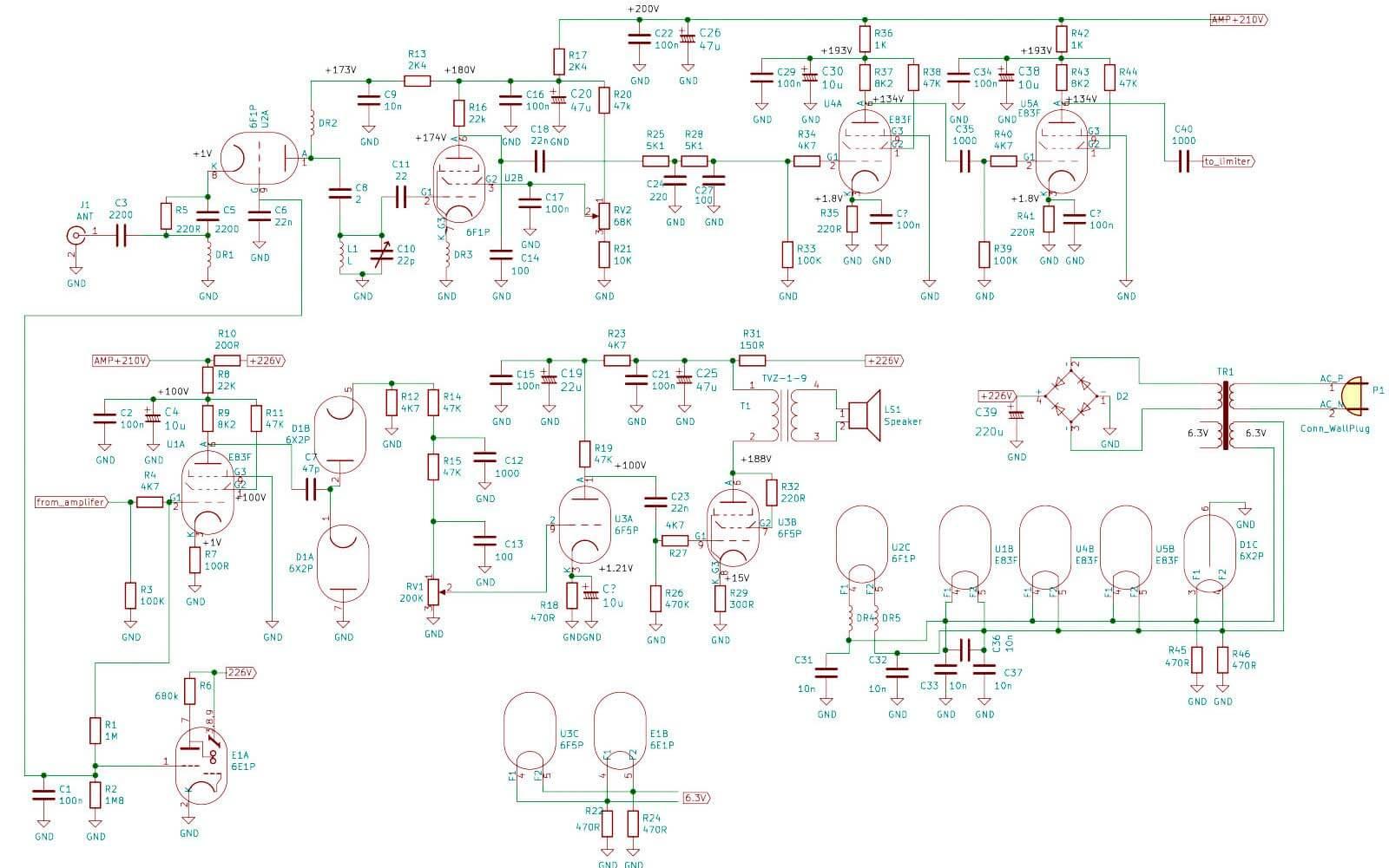Адаптированная и переработанная схема радиоприемника на лампах