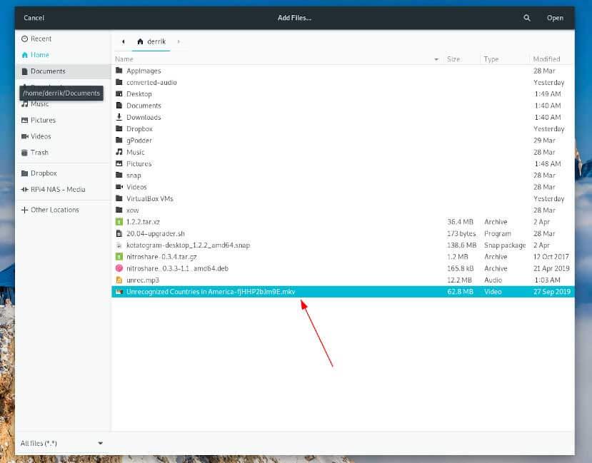 Конвертировать видео в MP3 Linux. Открытие файла в sound convert