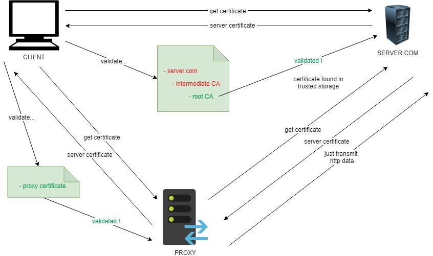 Схема установки SSL-соединения через «доверенный» прокси-сервер