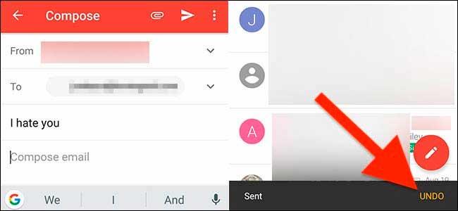 отмена отправленного сообщения в Gmail на Android