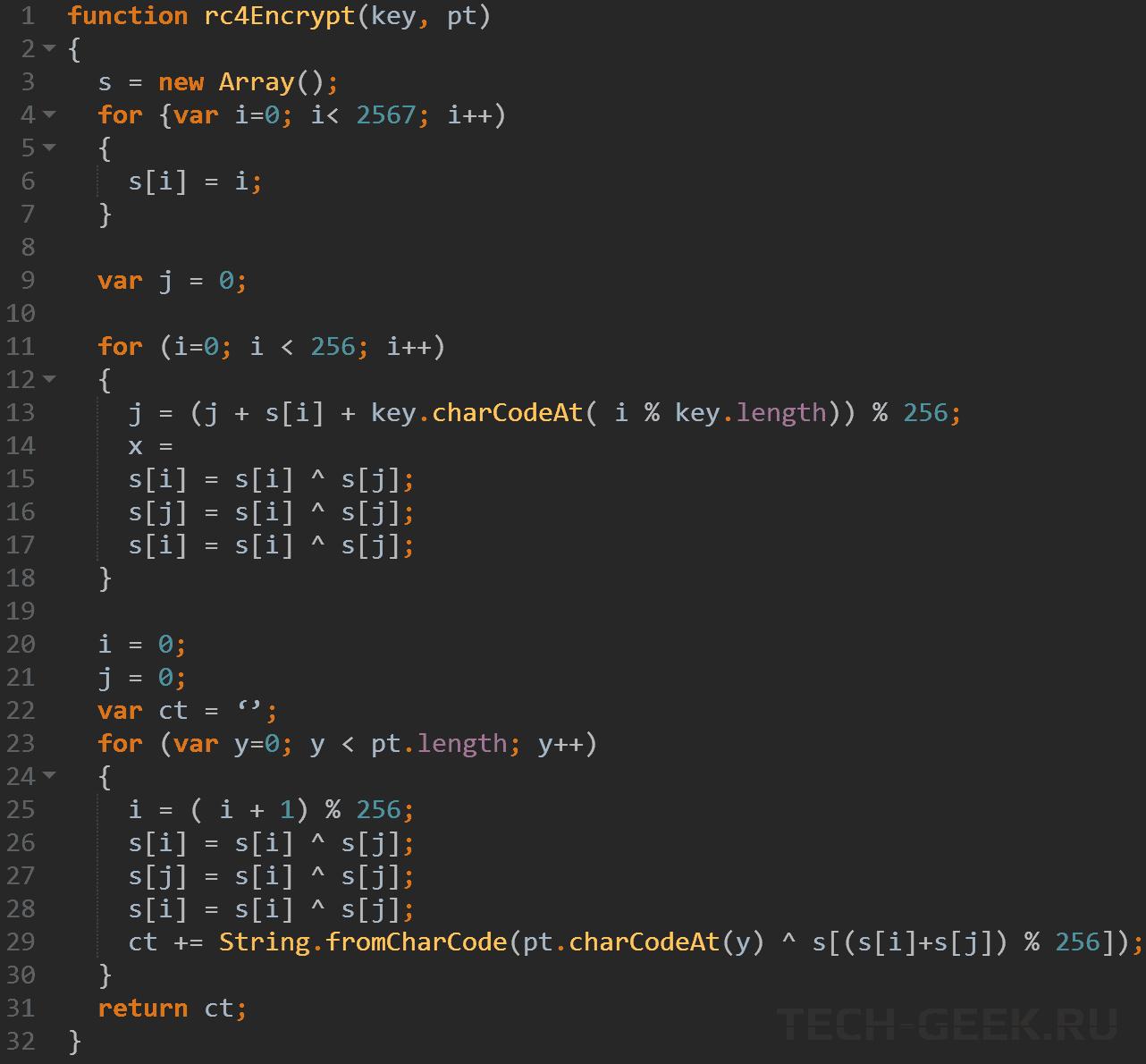 Простая функция JS, реализующая шифрование RC4